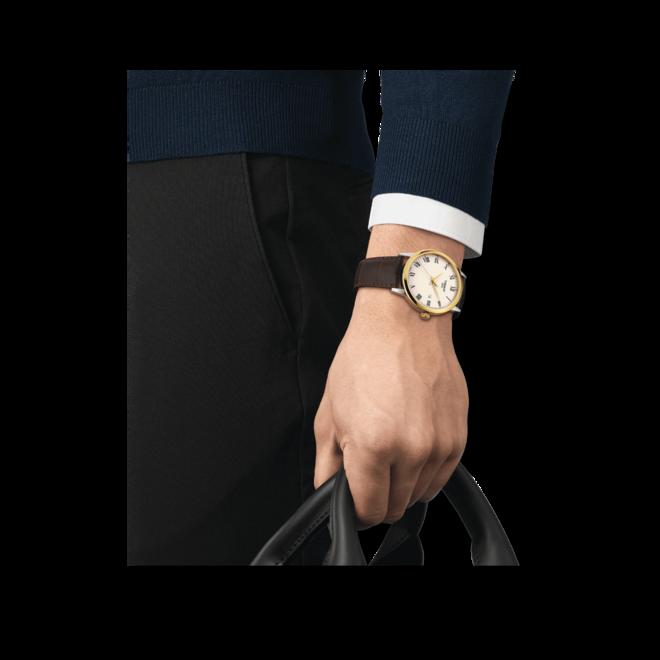 Herrenuhr Tissot Classic Dream Gent mit elfenbeinfarbenem Zifferblatt und Rindsleder-Armband bei Brogle
