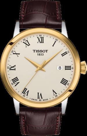 Herrenuhr Tissot Classic Dream Gent mit elfenbeinfarbenem Zifferblatt und Rindsleder-Armband