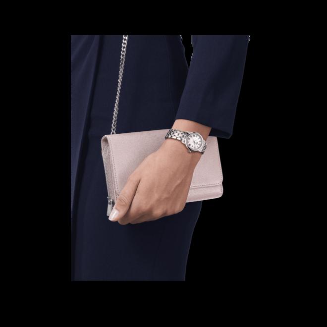 Damenuhr Tissot Classic Dream Lady 28mm mit weißem Zifferblatt und Edelstahlarmband bei Brogle