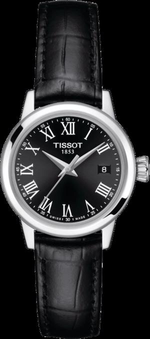 Damenuhr Tissot Classic Dream Lady 28mm mit schwarzem Zifferblatt und Rindsleder-Armband