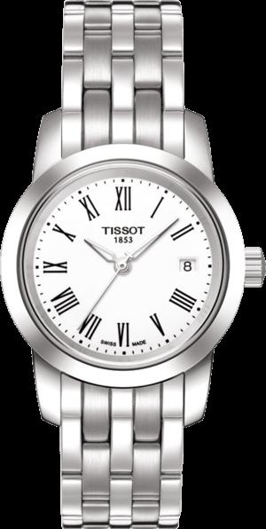 Damenuhr Tissot Classic Dream Lady mit weißem Zifferblatt und Edelstahlarmband