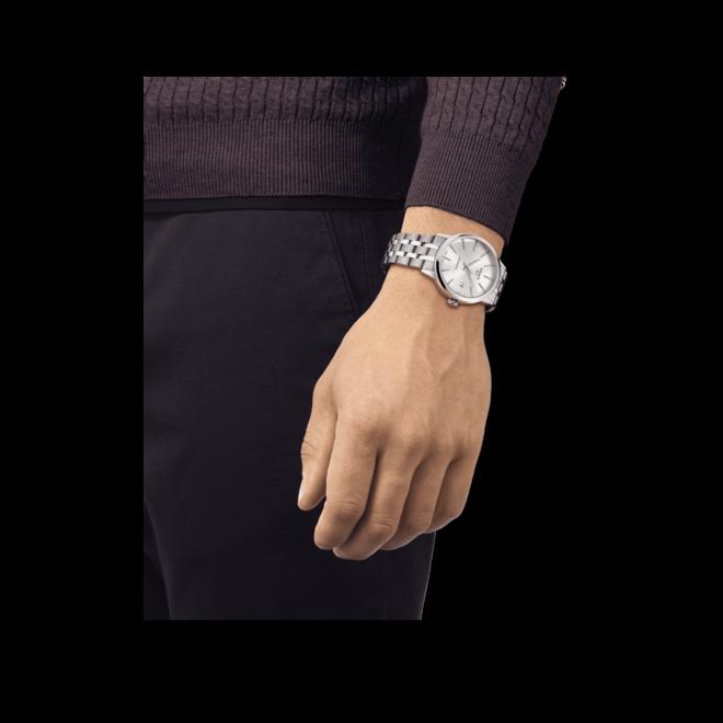 Herrenuhr Tissot Classic Dream Swissmatic mit silberfarbenem Zifferblatt und Edelstahlarmband bei Brogle