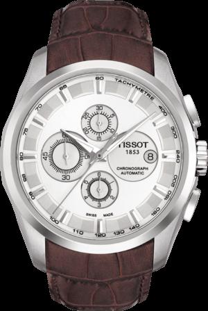 Herrenuhr Tissot Couturier Automatic Chronograph mit silberfarbenem Zifferblatt und Kalbsleder-Armband