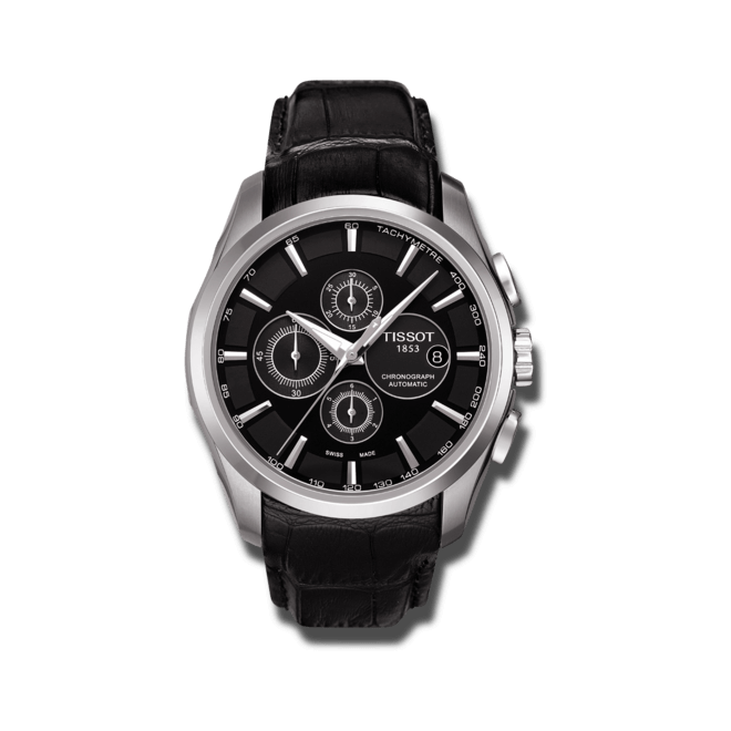Herrenuhr Tissot Couturier Automatic Chronograph mit schwarzem Zifferblatt und Kalbsleder-Armband