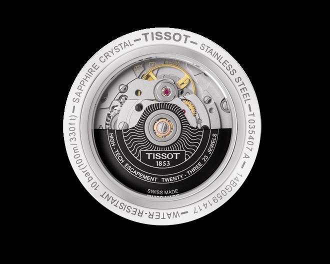 Herrenuhr Tissot Couturier Powermatic Gent mit schwarzem Zifferblatt und Armband aus Kalbsleder mit Krokodilprägung