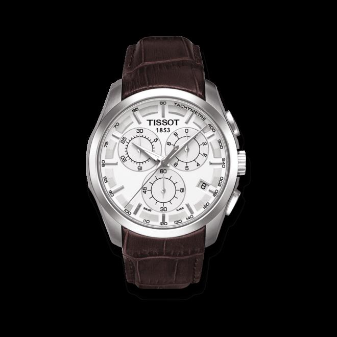 Herrenuhr Tissot Couturier Quartz Chronograph mit silberfarbenem Zifferblatt und Kalbsleder-Armband bei Brogle