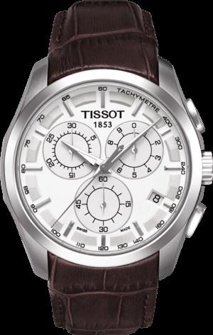 Herrenuhr Tissot Couturier Quartz Chronograph mit silberfarbenem Zifferblatt und Kalbsleder-Armband