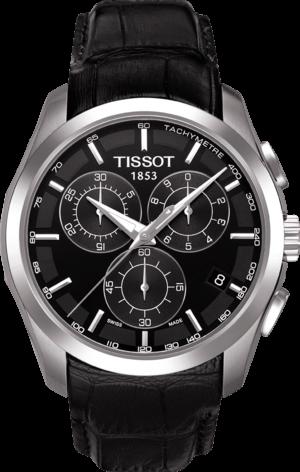 Herrenuhr Tissot Couturier Quartz Chronograph mit schwarzem Zifferblatt und Kalbsleder-Armband