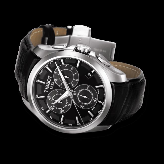 Herrenuhr Tissot Couturier Quartz Chronograph mit schwarzem Zifferblatt und Kalbsleder-Armband bei Brogle