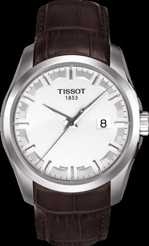 Herrenuhr Tissot Couturier Quartz Gent mit weißem Zifferblatt und Kalbsleder-Armband