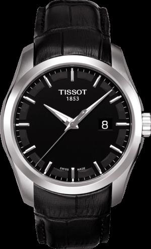 Herrenuhr Tissot Couturier Quartz Gent mit schwarzem Zifferblatt und Kalbsleder-Armband