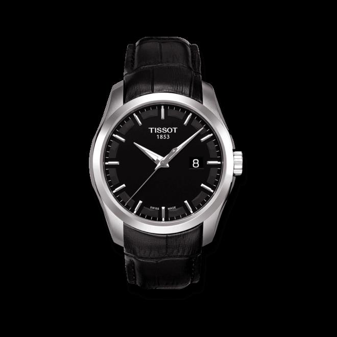 Herrenuhr Tissot Couturier Quartz Gent mit schwarzem Zifferblatt und Kalbsleder-Armband bei Brogle