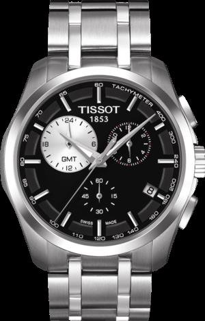 Herrenuhr Tissot Couturier Quartz GMT mit schwarzem Zifferblatt und Edelstahlarmband