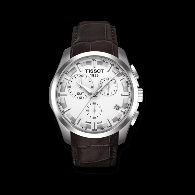 Herrenuhr Tissot Couturier Quartz GMT mit silberfarbenem Zifferblatt und Kalbsleder-Armband