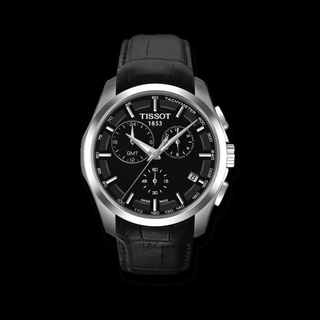 Herrenuhr Tissot Couturier Quartz GMT mit schwarzem Zifferblatt und Kalbsleder-Armband