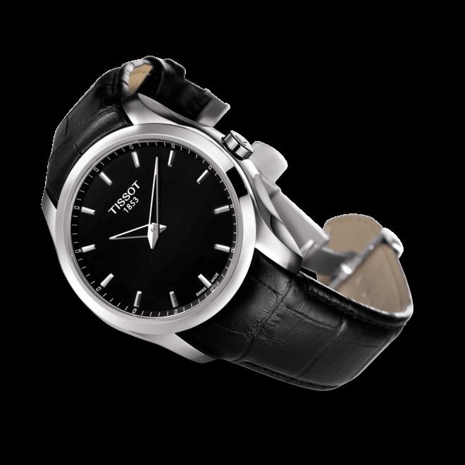 Herrenuhr Tissot Couturier Secret Date Gent mit schwarzem Zifferblatt und Kalbsleder-Armband