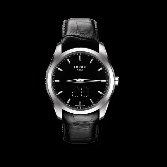 Herrenuhr Tissot Couturier Secret Date Gent mit schwarzem Zifferblatt und Kalbsleder-Armband bei Brogle