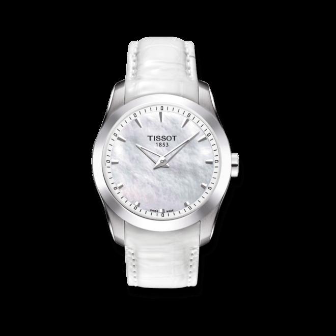 Damenuhr Tissot Couturier Secret Date Lady mit weißem Zifferblatt und Kalbsleder-Armband