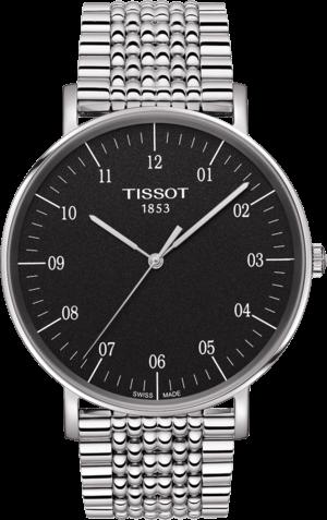 Herrenuhr Tissot Everytime Gent mit schwarzem Zifferblatt und Edelstahlarmband