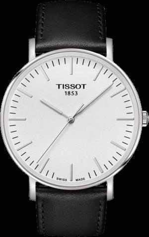Herrenuhr Tissot Everytime Gent mit silberfarbenem Zifferblatt und Kalbsleder-Armband