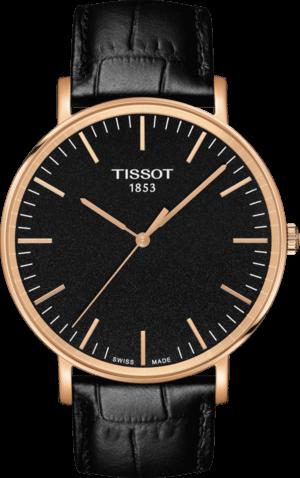 Herrenuhr Tissot Everytime Gent mit schwarzem Zifferblatt und Armband aus Kalbsleder mit Krokodilprägung