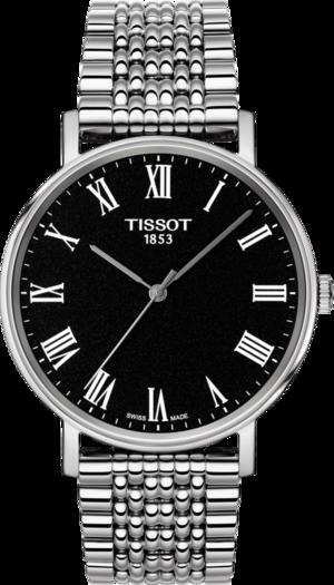 Armbanduhr Tissot Everytime Medium mit schwarzem Zifferblatt und Edelstahlarmband