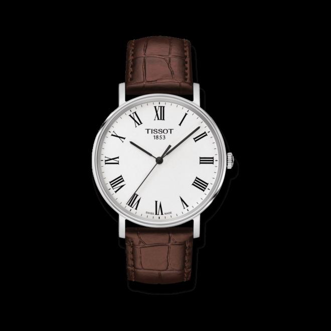 Armbanduhr Tissot Everytime Medium mit weißem Zifferblatt und Armband aus Kalbsleder mit Krokodilprägung bei Brogle