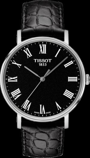 Armbanduhr Tissot Everytime Medium mit schwarzem Zifferblatt und Armband aus Kalbsleder mit Krokodilprägung