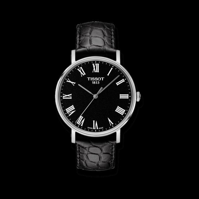 Armbanduhr Tissot Everytime Medium mit schwarzem Zifferblatt und Armband aus Kalbsleder mit Krokodilprägung bei Brogle