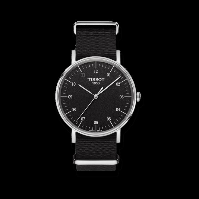 Armbanduhr Tissot Everytime Medium mit schwarzem Zifferblatt und Nylonarmband bei Brogle