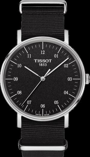 Armbanduhr Tissot Everytime Medium mit schwarzem Zifferblatt und Nylonarmband