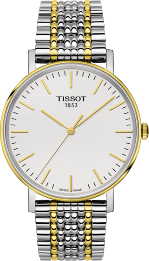 Armbanduhr Tissot Everytime Medium mit silberfarbenem Zifferblatt und Edelstahlarmband