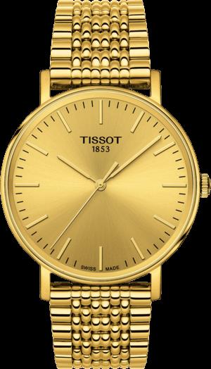 Armbanduhr Tissot Everytime Medium mit gelbgoldfarbenem Zifferblatt und Edelstahlarmband
