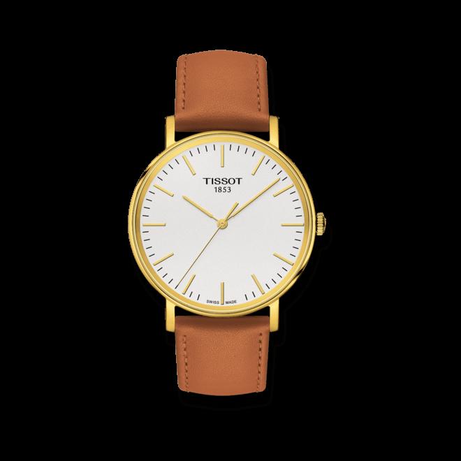 Armbanduhr Tissot Everytime Medium mit silberfarbenem Zifferblatt und Kalbsleder-Armband bei Brogle