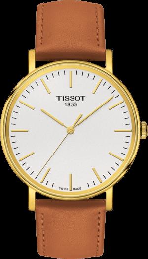 Armbanduhr Tissot Everytime Medium mit silberfarbenem Zifferblatt und Kalbsleder-Armband
