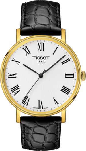 Armbanduhr Tissot Everytime Medium mit weißem Zifferblatt und Armband aus Kalbsleder mit Krokodilprägung