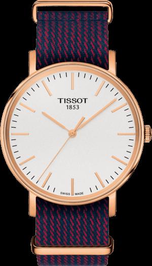 Armbanduhr Tissot Everytime Medium mit silberfarbenem Zifferblatt und Nylonarmband