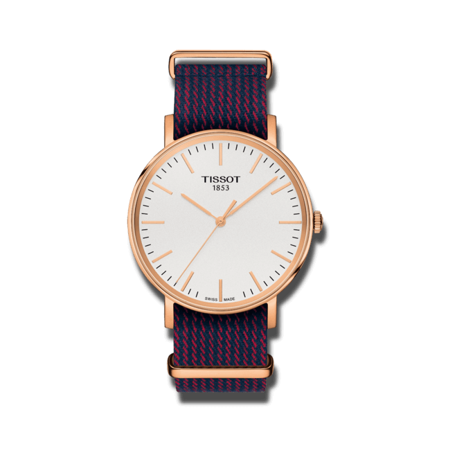 Armbanduhr Tissot Everytime Medium mit silberfarbenem Zifferblatt und Nylonarmband bei Brogle