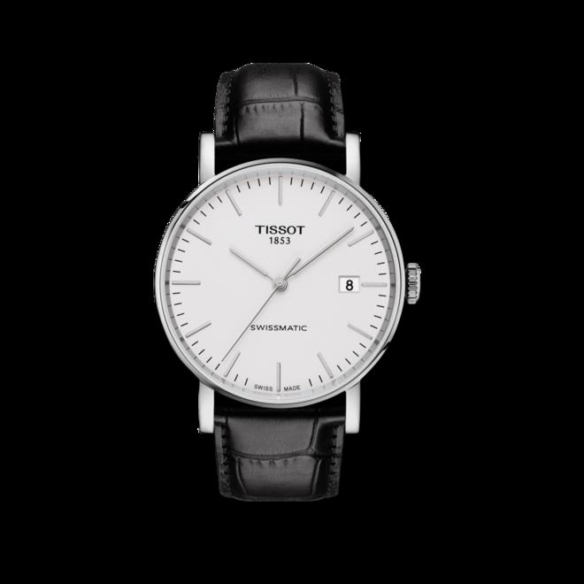 Armbanduhr Tissot Everytime Swissmatic mit weißem Zifferblatt und Armband aus Kalbsleder mit Krokodilprägung bei Brogle
