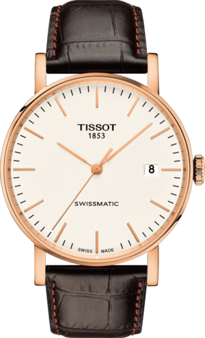 Armbanduhr Tissot Everytime Swissmatic mit weißem Zifferblatt und Armband aus Kalbsleder mit Krokodilprägung