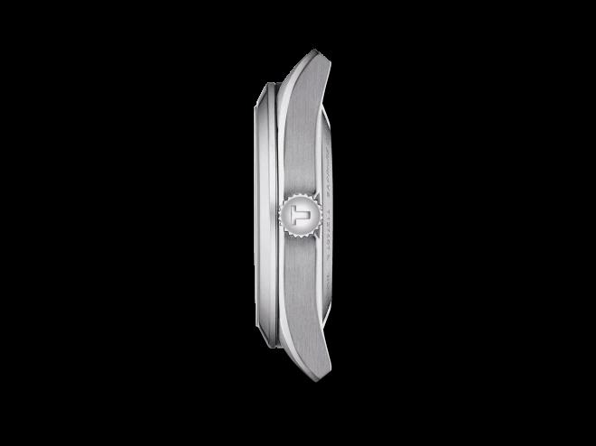 Herrenuhr Tissot Gentleman Automatic Powermatic 80 Silicium mit anthrazitfarbenem Zifferblatt und Edelstahlarmband bei Brogle