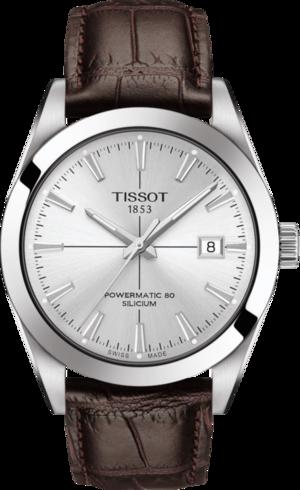 Herrenuhr Tissot Gentleman Automatic Powermatic 80 Silicium mit silberfarbenem Zifferblatt und Rindsleder-Armband
