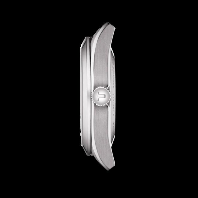 Herrenuhr Tissot Gentleman Automatic Powermatic 80 Silicium mit silberfarbenem Zifferblatt und Rindsleder-Armband bei Brogle