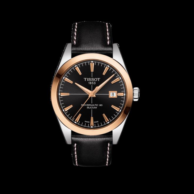 Herrenuhr Tissot Gentleman Automatic Powermatic 80 Silicium mit schwarzem Zifferblatt und Kalbsleder-Armband bei Brogle