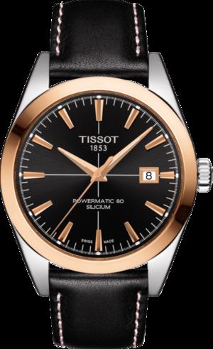 Herrenuhr Tissot Gentleman Automatic Powermatic 80 Silicium mit schwarzem Zifferblatt und Kalbsleder-Armband