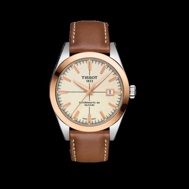 Herrenuhr Tissot Gentleman Automatic Powermatic 80 Silicium mit cremefarbenem Zifferblatt und Kalbsleder-Armband bei Brogle