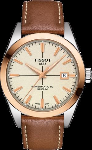 Herrenuhr Tissot Gentleman Automatic Powermatic 80 Silicium mit cremefarbenem Zifferblatt und Kalbsleder-Armband