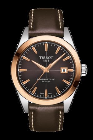 Herrenuhr Tissot Gentleman Automatic Powermatic 80 Silicium mit braunem Zifferblatt und Kalbsleder-Armband