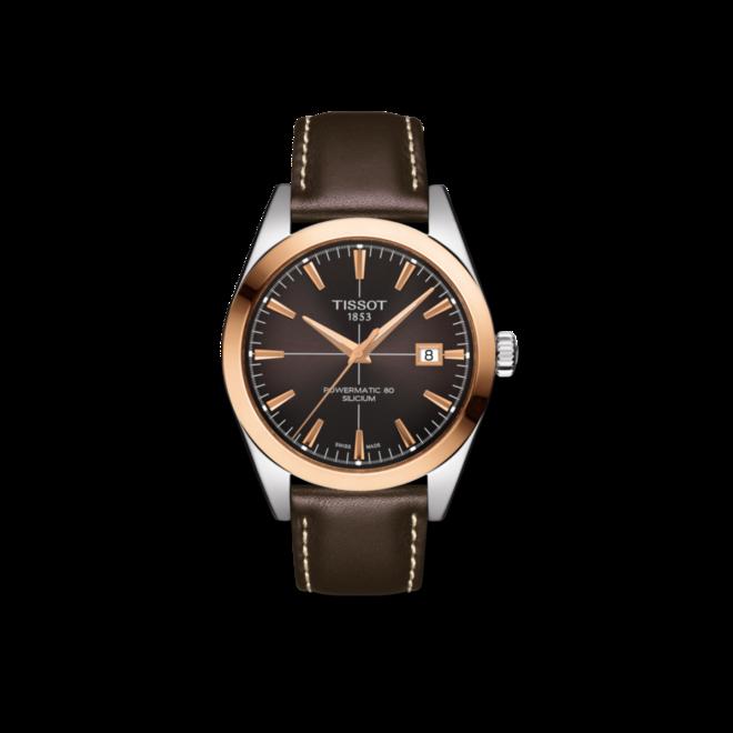 Herrenuhr Tissot Gentleman Automatic Powermatic 80 Silicium mit braunem Zifferblatt und Kalbsleder-Armband bei Brogle