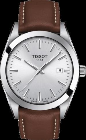 Herrenuhr Tissot Gentleman Quartz mit silberfarbenem Zifferblatt und Rindsleder-Armband